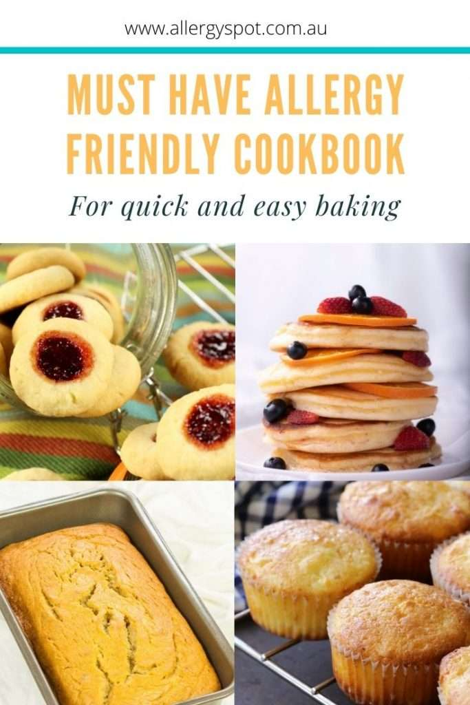 Allergy friendly cook book with recipes for Jam drops, pancakes, banana bread and muffins