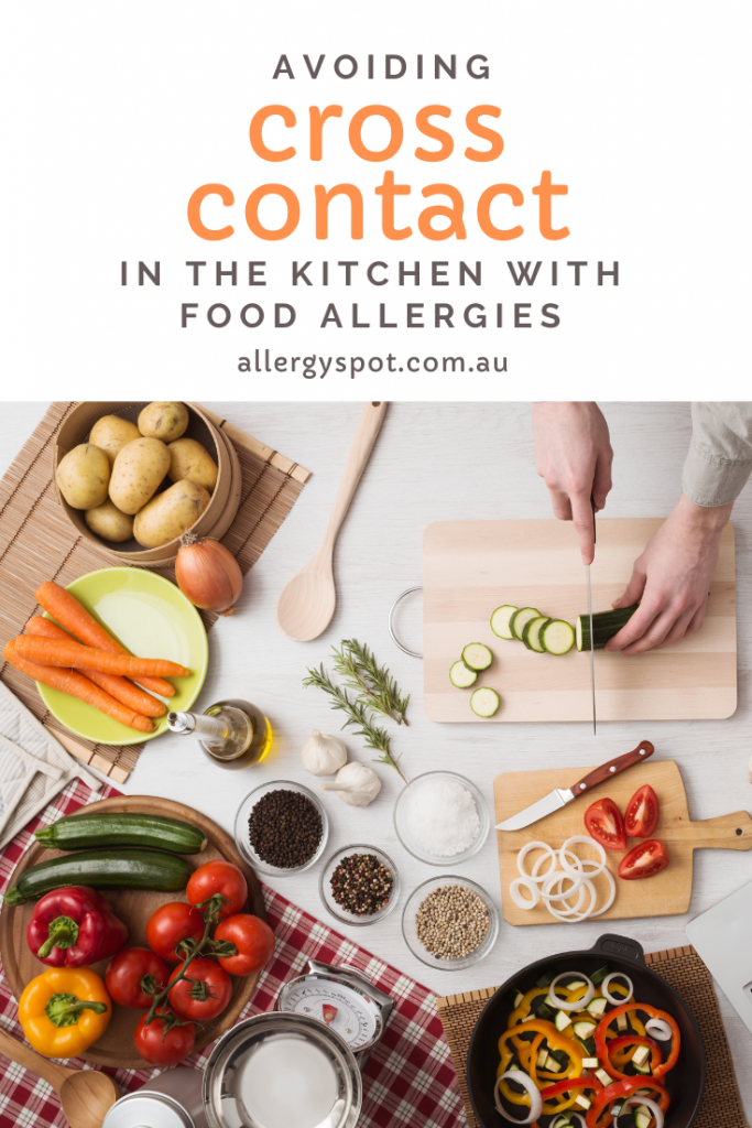Fresh food ingredients and someone slicing vegetables on a chopping board with text -  Avoiding food allergy cross contact in the kitchen