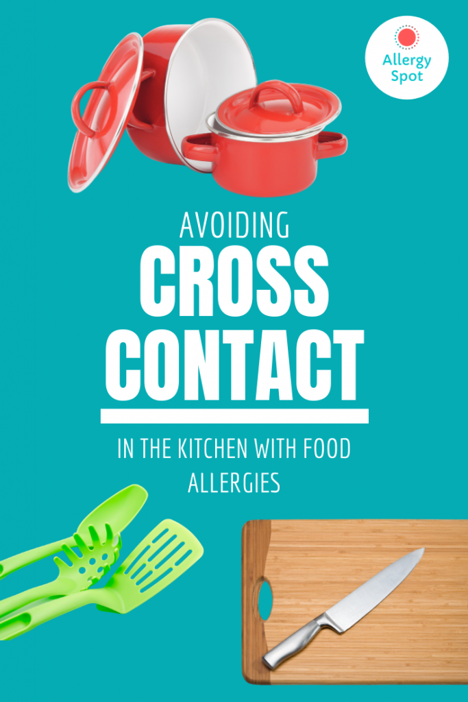 Coloured cooking pans and utensils, chopping board and knife with text - avoiding cross contact in the kitchen with food allergies