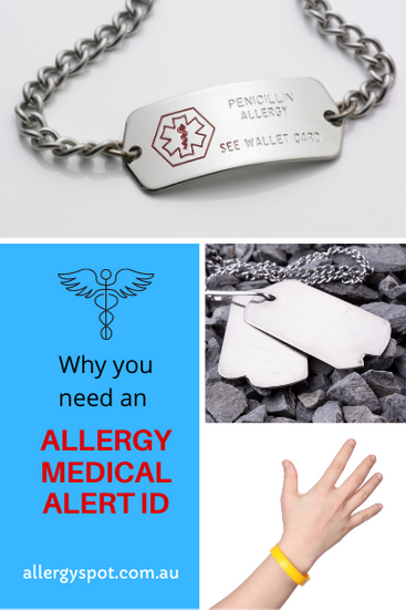 Why you need an allergy medical alert ID.  Allergy medical alert bracelets, dog tags and silicone wrist bands.