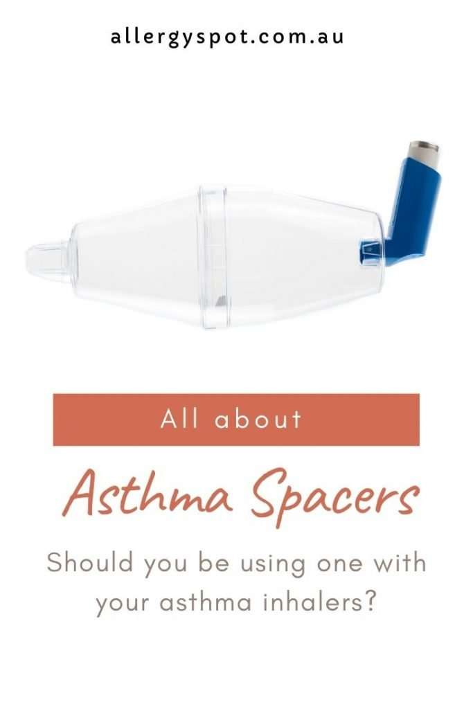 """Large volume asthma spacer with inhaler, with text """"All about asthma spacers. Should you be using one with your asthma inhalers?"""""""