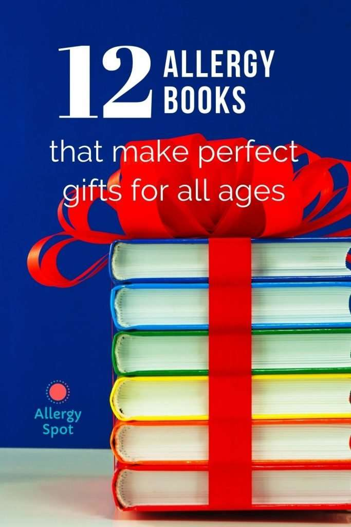 Stack of colourful allergy books tied with a bow - 12 Allergy books that make perfect gifts for all ages